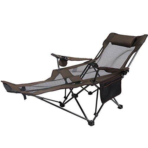 HM&DX Outdoor folding chairs Camping chairs reclining Adjustable back Cup holder Foldable recliner Fishing chair Hiking beach garden-Coffee