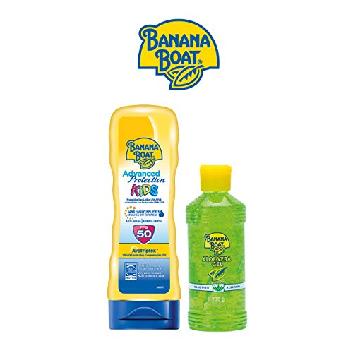 Banana Boat KIDS Pack Familiar - Kit de Crema Solar Niños SPF 50 + Gel After Sun Aloe Vera
