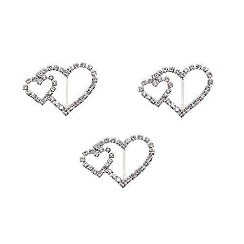 Weddecor 16mm x 30mm Diamante Slider Beigetreten Herz Schnalle Strass Kristallmetallbefestigungsteile für Frauen Mode-Accessoires, Hochzeitskarten, Stuhl-Abdeckung Schärpen, Bänder, 50pcs