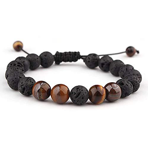 LEUCHTBOX Glücks-Armband Yoga Chakra Kettchen für Frauen und Männer Lavasteine Vulkansteine Tigerauge Schmucksteine Verstellbares Band (Braun)