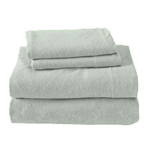 Jersey Knit Sheets. All Season, Soft, Cozy King Jersey Sheets. T-Shirt Sheets. Jersey Cotton Sheets. Heather Cotton Jersey Bed Sheet Set. (King, Green)