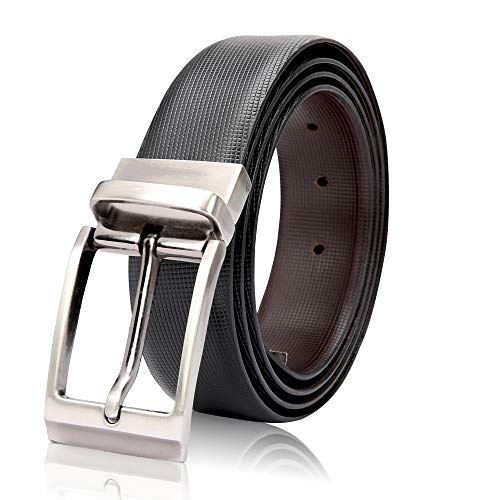 Soormey Men's Leather Black-Brown Reversible Belt
