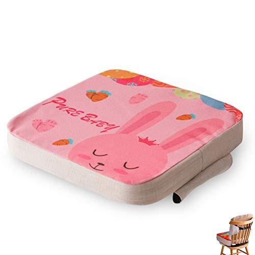 Bebé Niños Cojin Silla de Comedor Asientos de Amortiguador, Fansu Estampado de Dibujos Desmontable y Ajustable Gruesa Cojín del Asiento de refuerzo Extraíble Mat (Conejito rosa,40x40x5cm)