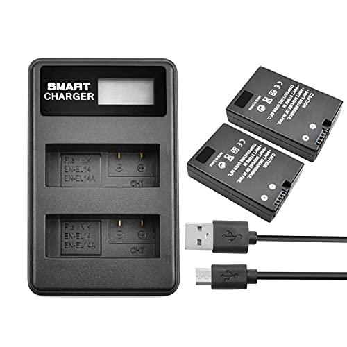 2Pack EN-EL14 EN-EL14a Battery and Dual LCD Charger Compatible with Nikon...