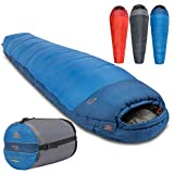 Echo 400 Mummy Sleeping Bag 4 Season - Thick Technical Spiral Insulation, Water Resistant Coating, Double Layer Filling, Extra Warm and Comfortable - Adjustable Thermal Hood, Draught Collar, Internal Security Pocket with Compression Carry Bag – Great for Camping, Fishing, Backpacking, Outdoors, Bushcraft and Extreme Expeditions Throughout the Year