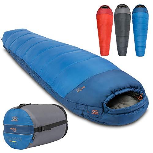 Echo Schlafsack von Highlander - Technische Spiralfüllung für einen besonders warmen Schlaf - Ideal für Camping, Bushcraft und extreme Expeditionen das ganze Jahr über (Blau)
