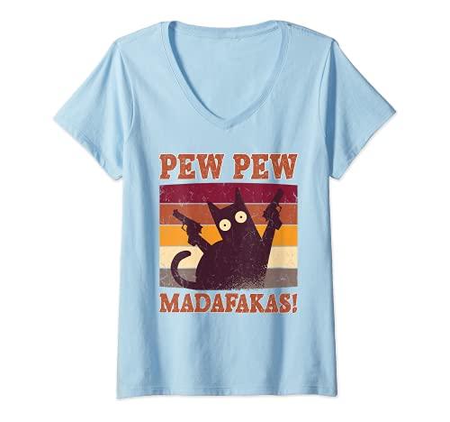Damen Pew Pew Madafakas Shirt Pew Pew Katze Pyjama Sommer Katzen T-Shirt mit V-Ausschnitt