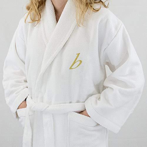 Lady Hotel Edición Blanco Waffle/Terry Albornoz de mujer, con oro Carta y nombre personalizado, algodón, Blanco, large