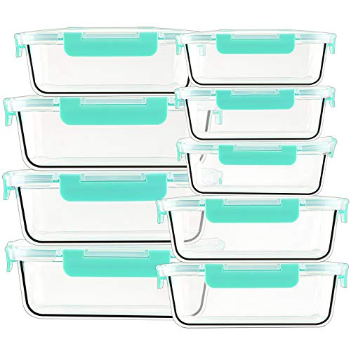 Glas Frischhaltedosen [9-er set, 3 Größen] Meal Prep Boxen mit Deckel, Glasbehälter, BPA-frei, Spülmaschinen- Mikrowellen- und Gefrierschrankgeeignet, Grün