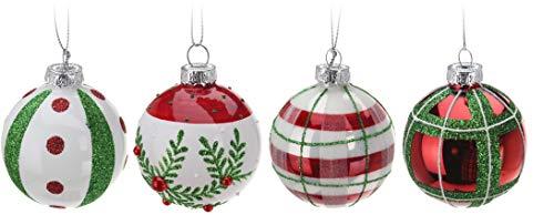 4 DKB Motiv Echt Glas Christbaumkugeln Dekokugeln Weihnachtskugeln Baumkugeln Baumschmuck