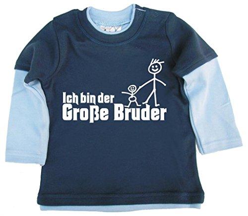 Dirty Fingers Dirty Fingers, Ich bin Große Bruder, Baby und Kleinkind, Skater Top, 3-6m, Blau & Hellblau