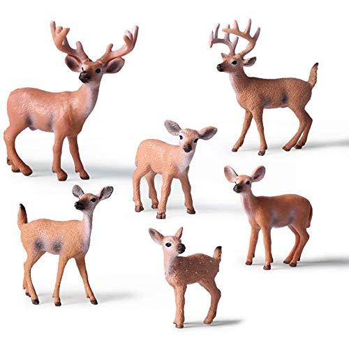 IWILCS Hirsch Spielzeug Tierfiguren, 6 Stück Realistisch Weißwedelhirsch Aktionsmodell, Hirsch Figuren Kuchendeckel Figuren Tierfiguren, Weißwedelhirsch Familie Figuren