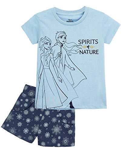 Disney Die Eiskönigin Schlafanzug Mädchen, Kurz Frozen Pyjama Kinder mit Anna und ELSA, Zweiteiliger Baumwolle Sommer Schlafanzug, Kinder Nachtwäsche Set, Geschenke für Kinder (Blau Frozen, 2 Jahre)