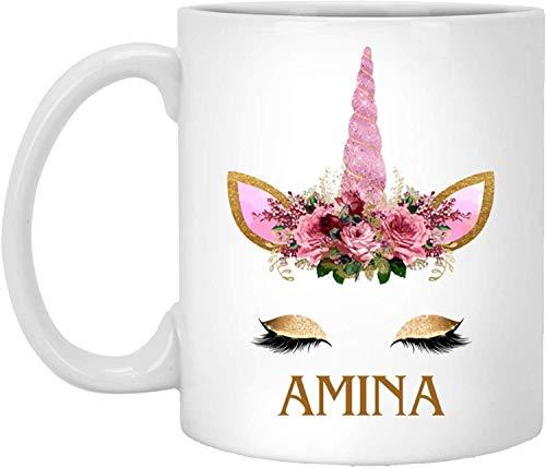 Taza de té, blanco, Amina Unicorn 11oz tazas de café unicornio tazas de flores para niñas, unicornio personalizado nombre taza personalizada