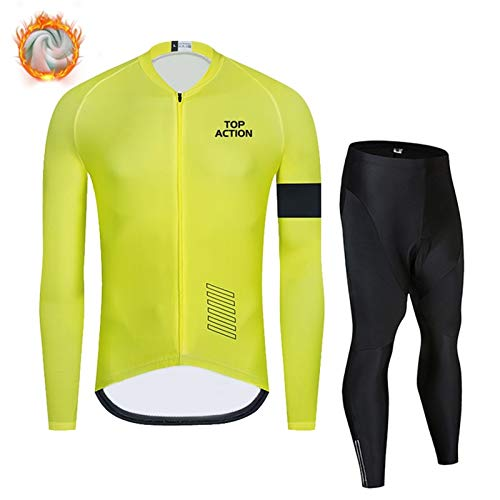 Xu Yuan Jia-Shop Fleece Thermal Softshell Cycling Ropa Set Men's Manga Larga Ciclismo Jersey Pantalones Bike Ropa Set (Color : Yellow, Size : XS)