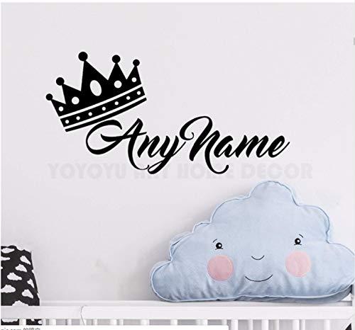 Personalisierte Name Prinzessin Crown Wandaufkleber Customade Prince Name Schlafzimmer Wandtattoo Kunst Kinderzimmer Wanddekor Wandbild 57 * 28 Cm