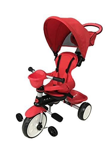 Mondial Toys Triciclo 4in1 con MANIGLIONE DIREZIONABILE E CAPPOTTINA Parasole 7811 Rosso