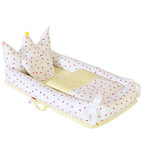 ZXLLO Washable Cot Portable Cot Bed Baby Portable and Lightweight Soft and Breathable Perfect for Cuddling 0-2 Years Children's Multifunctional Baby Lounger, Delicious Strawberry (Crown)