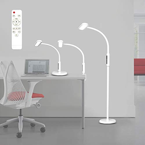 Syrinx 3 in 1 LED Floor Lamp, Desk Lamp, Clamp-on Lamp With Remote Control, 5 Brightness Levels & 5 Colors Temperatures, Dimmable, Adjustable Gooseneck Pole Lamp for Home Office, Classic style - White