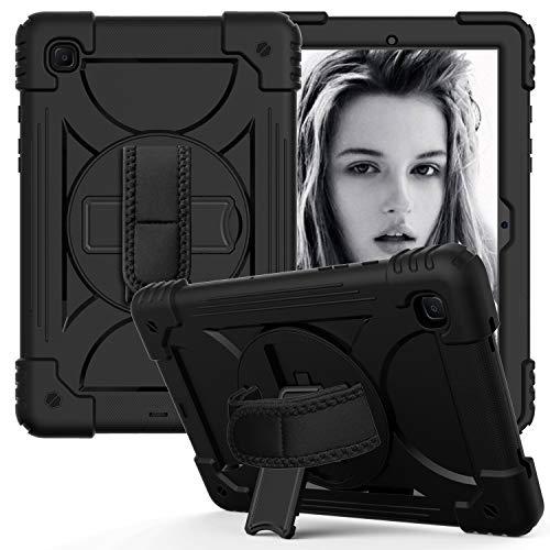 WHWOLF Compatible con Samsung Galaxy Tab A7 de 10,4 pulgadas funda 2020 (SM-T500/SM-T505), carcasa resistente con soporte giratorio de 360 grados, correa de mano y correa para el hombro, color negro