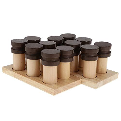PETSOLA Juego Montessori Juguete Caja de Soporte Material Sensorial Fragancia con Olor Cilindros Botellas Madera
