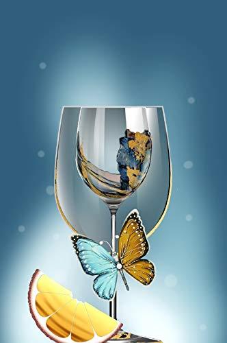 REAHTCY Moderno Abstracto Mariposa Vino Copas de Copa de Cristal Pinturas de la Pared Arte de la Pared para la decoración de la Sala de Estar (sin Marco) (Color : I, Size (Inch) : 60x80cm(No Frame))