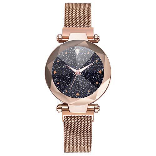 LJJOZ Moda Mujeres Cuarzo Reloj De Pulsera Magnet Botón Malla Correa Reloj De Pulsera Dial Redondo (Oro Rosa)