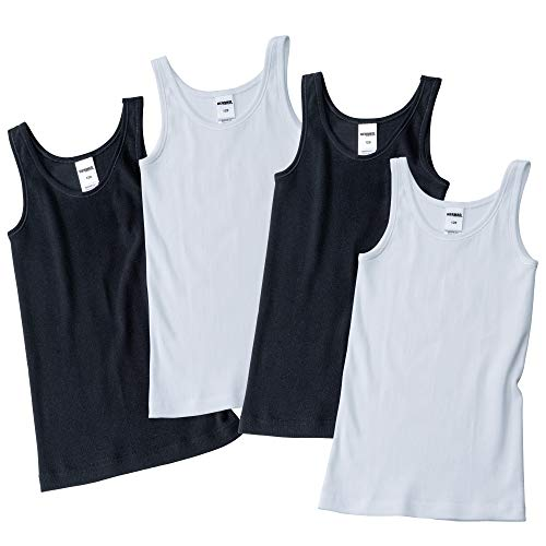 HERMKO 2000 4er Pack Mädchen Unterhemd aus 100% Bio-Baumwolle, Tank Top, Farbe:weiß/schwarz, Größe:176