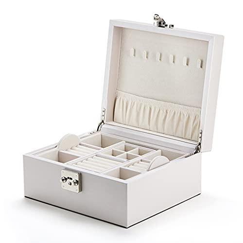 Joyero organizador para mujeres y niñas, 2 capas grande caja de almacenamiento de joyas, soporte de joyería de piel sintética con bandeja extraíble para collares, pendientes, anillos, pulseras, regalo