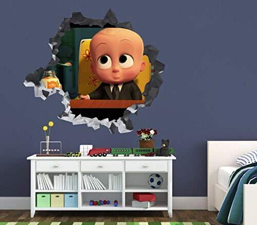 SJXWOL The Boss Baby zertrümmert Wandtattoo 3D-Aufkleber Dekor Kunst VinylSmash Disney