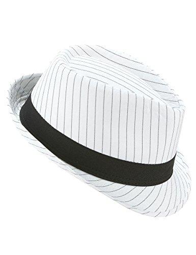 PARTY PLAY Chapeau Borsalino Blanc à Rayures Noires - Blanc - Taille Unique