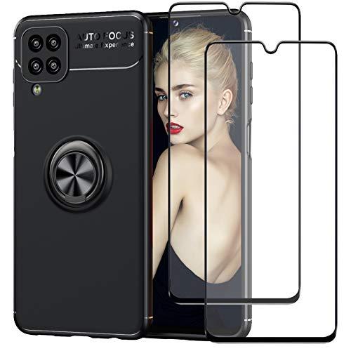 DIMIYER Funda compatible con Samsung Galaxy A12, con 2 protectores de pantalla de cristal blindado 360°, anillo giratorio para soporte magnético de coche, carcasa de silicona para Galaxy A12