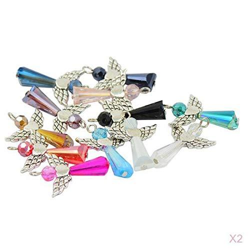 LOVIVER 24 Piezas Multicolores Vintage Fairy Angel Charms Colgantes Cuentas de Vidrio Facetado Alas de Plata Envejecida Cuelgan para Bricolaje Regalo de Boda