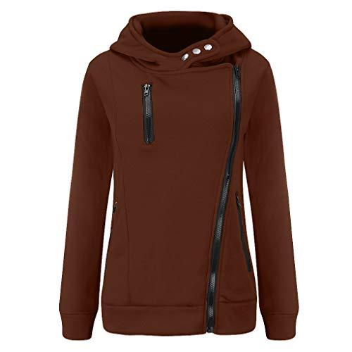 GOKOMO Jacke Damen Sweatjacke Hoodie Sweatshirtjacke Pullover Oberteile Kapuzenpullover Reißverschluss Herbst und Winter Warm(Kaffee,XX-Large)