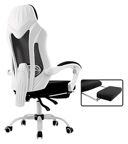 Silla de ordenador con respaldo de malla, ergonómica, silla de oficina, silla de oficina grande (color: blanco)