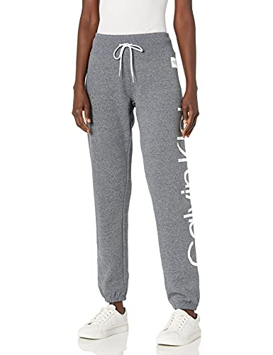 Calvin Klein Women's Slim Fit Sweatpant with White Rubber Print, Deep Black Heather, Large