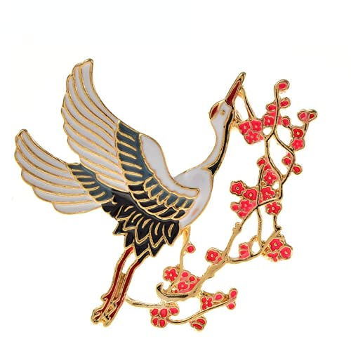 JIANCHEN Chinese Style Enamel Plum Blossom Brooches for Women and Men Cute Animal Bird Brooch Pins Fashion Jewelry Gift
