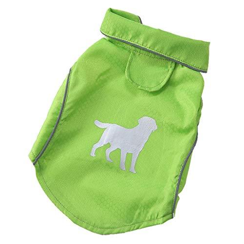 Smniao Hund Regenmantel, Reflektierende Streifen wasserdichte Atmungsaktiv Klettdesign PU Regenjacke für kleine Mittel Hunde, Größe S-XL (S, Grün)