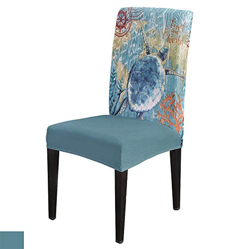 Stretch Chair Cover Dining Room Chair Covers Set of 4 Nautical Theme Marine Life Series Turtle Pattern Kitchen Chair Covers Soft Chair Seat Furniture Protector with Elastic Bottom for Office