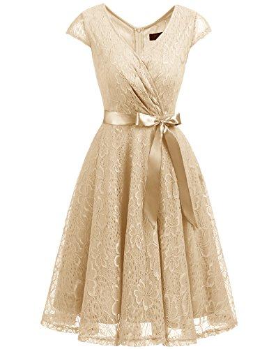 DRESSTELLS Elegant Spitzenkleid Knielang V-Ausschnitt Brautjungfernkleid Cocktailkleid Abendkleider Champagne 2XL