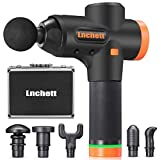 Lnchett Massage Gun, Deep Tissue Percussion Massager for Pain Relief, 20 Speed Level, LED Touch Screen, Long Battery Life, with 6 Heads and Solid Aluminum Carrying Case