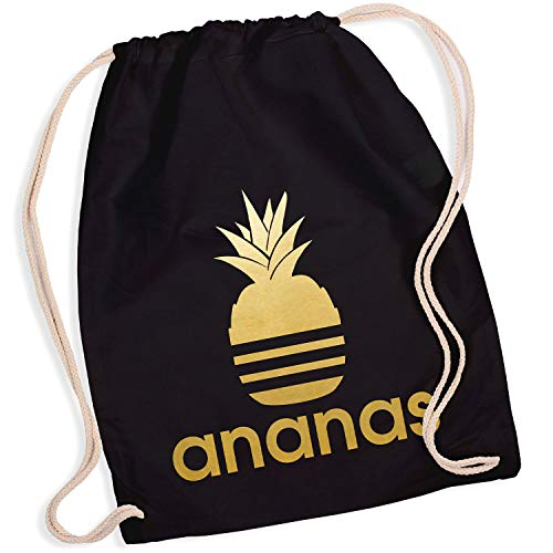 Shirt-Panda Turnbeutel mit Ananas Motiv Hipster Sport Jute Tasche Gym Bag Spruch Baumwolle Schwarz (Druck Gold)