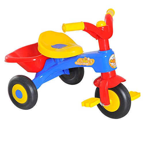 HOMCOM Triciclo para Niños 18-36 Meses Triciclo Infantil Evolutivo con Bocina Cesta 60x42x45cm Metal y PP