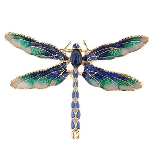 SDENSHI Broches Delicados de Aleación de Libélula Inspirada, Alfileres de Insectos Esmaltados, Decoración de Vestido - Azul, 5x3.5cm