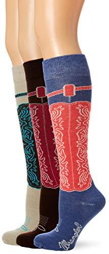 Wrangler Women's Ladies Wild West Boot Socks 3 Pair Pack, Blue/Khaki/Brown, Medium