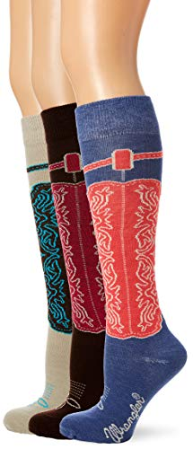 Wrangler Women's Ladies Wild West Boot Socks 3 Pair Pack, Blue/Khaki/Brown, Medium