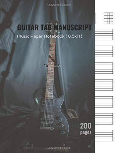 guitar tab music manuscript paper notebook: blank guitar chord music notebook for beginners, lyrics, song writing, for kids, student, teacher, with ... x 11 in., White Paper, printed on both sides