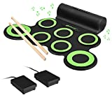 Costzon 7 Pads Electronic Drum Set, Portable Roll up Drum Kit Pad w/MIDI Output, Headphone, 5 Tones, 8 Demos, Built-in Speakers, 2000mAh Rechargeable Battery, Great Gift for Kids (Green + Black)