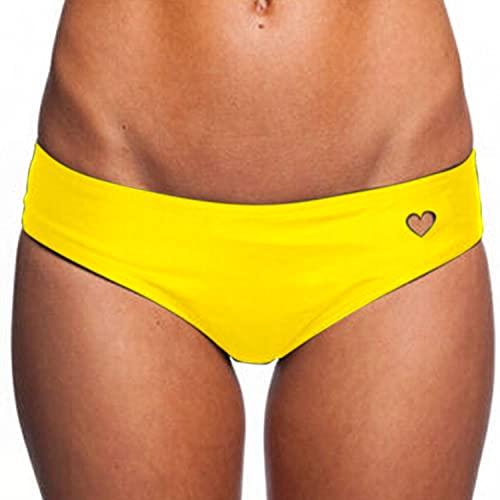 Tuopuda Bikini Slip Perizoma Donna Sexy Bikini Bottom a Forma di Cuore Costume da Bagno a Slip Brasiliano Bikini Tanga Perizoma Tanga Swimsuit Beachwear(Giallo,L)