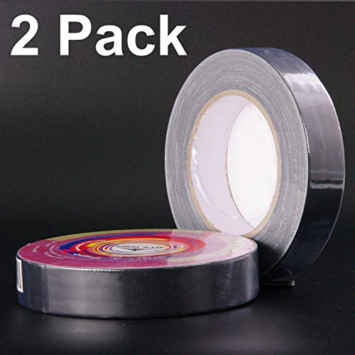 Gaffer Tape 2 Pack 1' Black 26yd Roll Natural Adhesive No Residue Professional